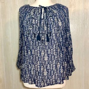 Lucky Brand Blue Floral Peasant Blouse - 2X
